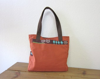 Autumn spice canvas tote bag/Shoulder bag/Fall Fashion/Accessories - Made in U.S.A