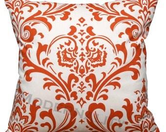 Damask Pillows- Premier Prints Traditions Sweet Potato Pillow Cover-  Hidden Zipper Closure- Orange Cushion Cover- Throw Pillows