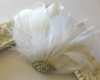 Bridal Hairpiece, Bridal Fascinator, White Feather Fascinator, Head Piece, Wedding Hair Accessories, Wedding Hair Piece Art Deco Fascinator