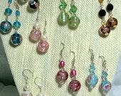 Genuine Murano Glass Bead Earrings with Crystal or Pearl Accents, Variety of Colors Available