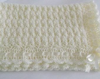 Crochet Baby Blanket / Afghan, Handmade Crochet Ivory Baby Blanket Baby Girl Baby Boy Shower Gift