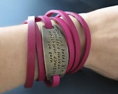 Women's Personalized Thin Leather Wrap Bracelet // Gifts for her // Graduation gift // Custom Leather Wrap Cuff Bracelet