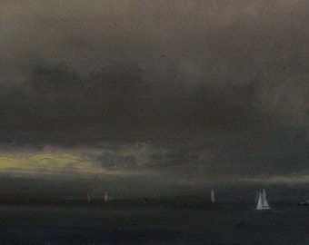 small oil painting seascape storm 6x12