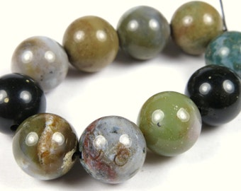 Ocean Jasper Round Bead - 12mm - 10 Pieces - A6831