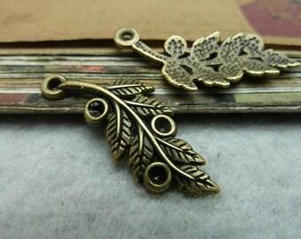 30pcs 14x32mm The Leaves Antique Bronze Retro Pendant Charm For Jewelry Bracelet Necklace Charms Pendants C7142