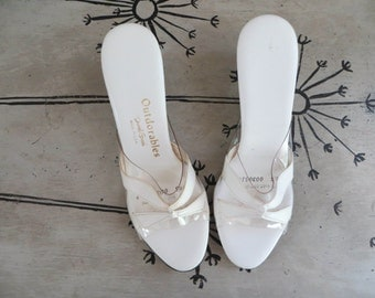 White High Heel Shoe 6 1/2 Outdorables by Daniel Green Wedge Shoes Slingback Shoes Vintage Slingback Shoes White Sandles High Heel Sandles