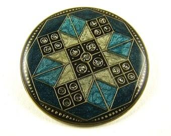 Vintage Patchwork style round brooch