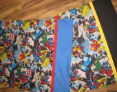 3 Super Hero fabric choices for custom pillowcase. name personalized for 5.00 additional