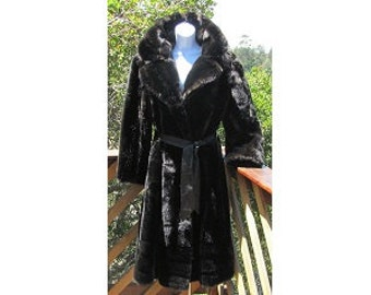 EVANS Chicago Paris Milan Tag Vintage Faux Fur Coat Deep Brownish Black Calf Length Notched Collar Leather Tie Belt
