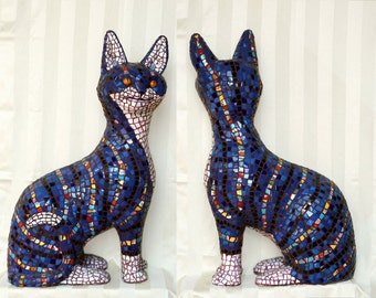 Mosaic Cat by Susan Sanford, mosaic art blue and white garden sculpture