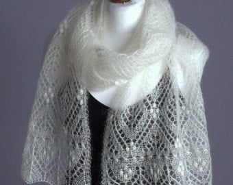 White wedding shawl,hand knitted luxury kidsilk lace scarf /READY TO SHIP/