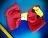 Back to school red hair clip with ruler ribbon, and yellow school bus charm, red hair clip, red hair bow, school hair bow