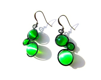 Green Cat Eye Bead Earrings Wrapped with Black Craft Wire