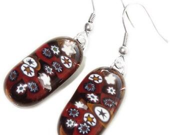 Handmade long brown glass earrings with white-brown millefiori stars! 925 Sterling Silver earrings