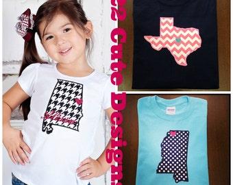 "Children's ""State Love"" Monogram Chevron & Polka Dot Embroidered Applique - Shirt 100% Cotton - MADE TO ORDER"