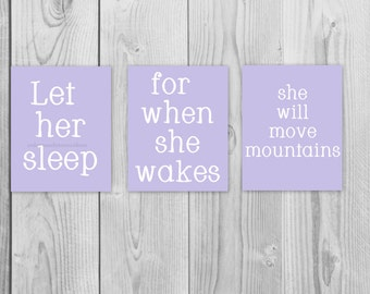 Baby Girl Nursery, Let her Sleep, Girls Nursery Art, Girls Wall Art, 8x10 Nursery Decor, Nursery Prints, Girls Nursery Decor