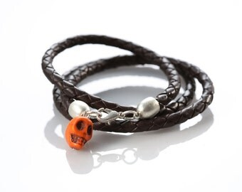 "Leather woven Bracelet ""Orange Skull"""