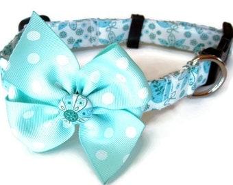 Aqua Blue Paisley Dog Collar size Small