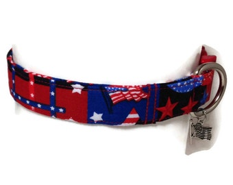 Patriotic Stars and Stripes Dog Collar size Medium