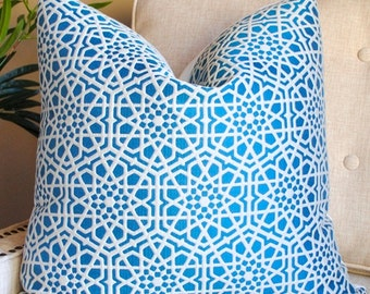 Designer Pillow Cover -20x20-Andalusia-Pacifica-Kravet-Blue PIllow