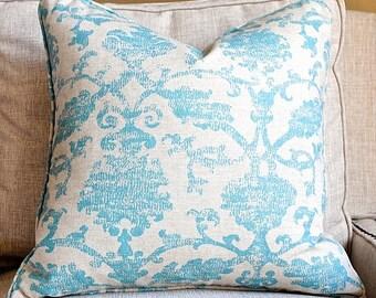 Beautiful Ikat Jacquard Pillow Cover-20x20-Throw Pillow-Accent Pillow-Teal-Self Welt-BOTH SIDES