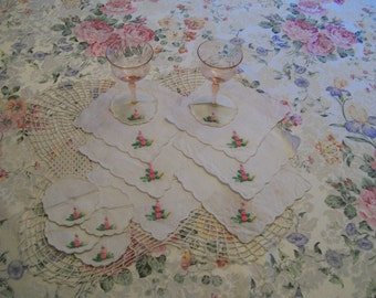 Embroidered Linen Coaster Napkins Set of 12 Ideal For  Wine Parties On Sale
