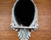 Vintage Shabby Chic Wall Mirror with Shelf Robins Egg Chalk Paint Distressed