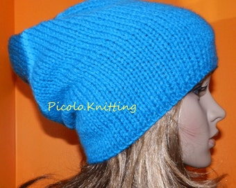 SALE - Handmade Knitted Teen Slouchy Beanie, Winter Chunky Hippie Cap, Hipster Slouchy Cap, Boho Hat in SEA BLUE - Gift under 30