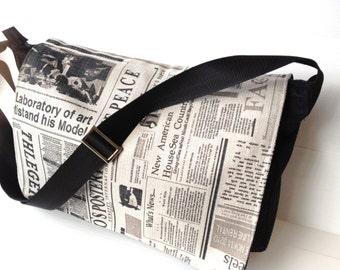 "handmade vegan men messenger bag, black cross body bag, over the shoulder , 15.6"" laptop bag, back to school, work bag, newspaper print flap"