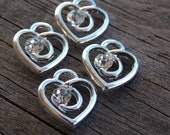 10 Silver Heart Charms with Clear Crystals 13mm