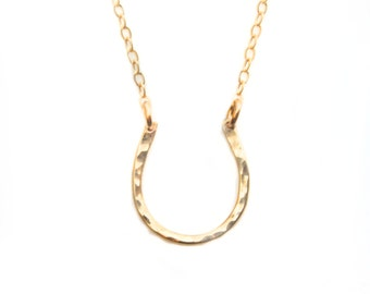 Gold Hammered Lucky Horseshoe Necklace - bridesmaid jewelry