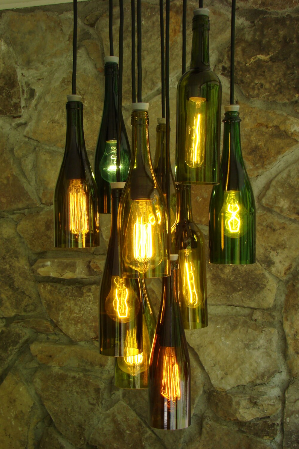 items similar to wine bottle chandelier on etsy. Black Bedroom Furniture Sets. Home Design Ideas