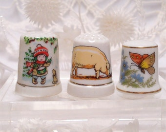 Thimble Choice Of Christmas Pig Butterfly