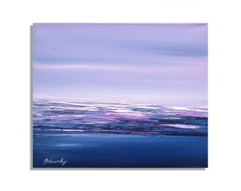 """Purple abstract oil painting - Original unique small contemporary abstract landscape oil painting - purple, blue, pink, white - 9,8"""" x 11,8"""""""