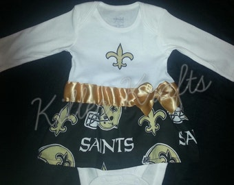 New Orleans Saints inspired baby girl outfit