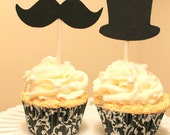 12 Top Hat or Mustache Cupcake topper