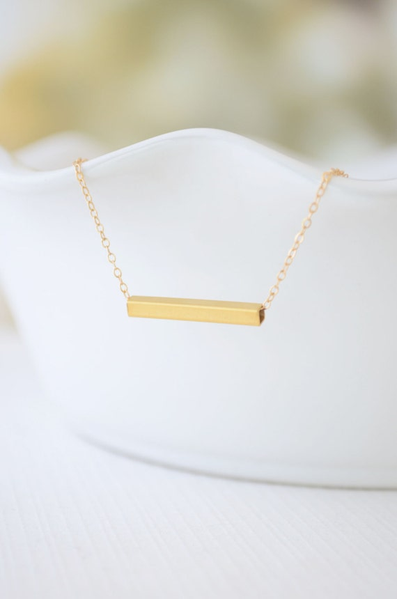 Gold bar necklace - simple bar necklace - modern gold jewelry - 1243G