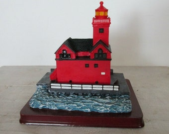 Unusual Style Lighthouse Replica, Holland Harbor Lighthouse in Minnesota, Detailed, Wood Base, Collectible, Christmas gift