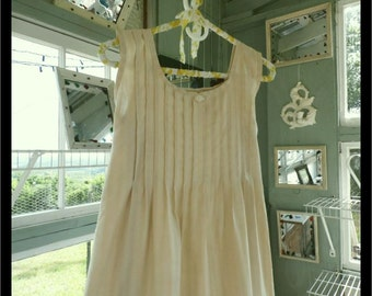 Free shipping in US-MEDIUM-,Nilla Bean,  Sleeveless Cotton Nightgown,  Handmade,  Vintage Fabric, PinTucked, Waltz Length, Vintage Inspired