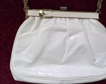 Vintage Leather Purse, Summer White, gold tone chain, & Belt detail