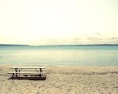 Beach print, beach canvas, picnic table print, peaceful art, beach photo, Lake Charlevoix print