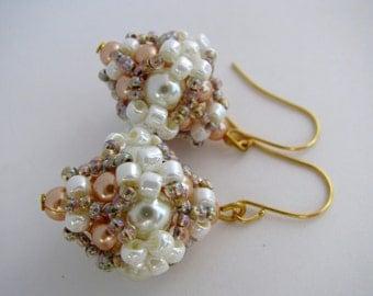 Pearl Earrings, White, Peach, Festive, Formal, Wedding, Bridesmaid, Evening, Beadwoven