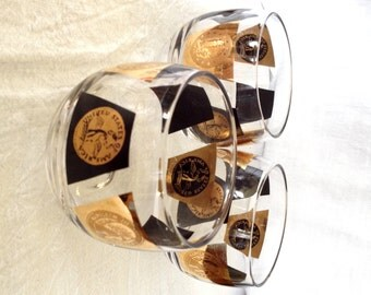 Vintage Cera Roly Poly Barware Glasses 22K Gold Coins