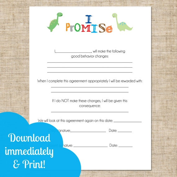 printable kids and parent contract behavioral chart instant download images frompo