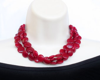 Red Jade Necklace -  Cranberry Red Statement Necklace - Cranberry Bridal - Cranberry Bridesmaid - Fall Jewelry