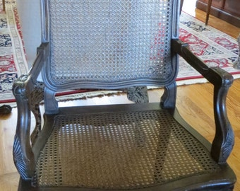 Liquidation Sale - Caned Seat and Back Accent Chair with Matelasse Cushion - SALE