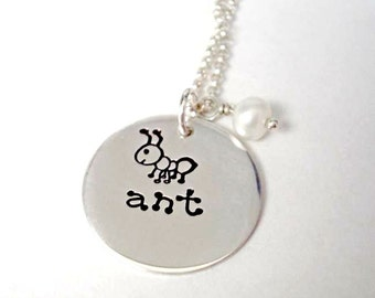 Hand Stamped Jewelry Necklace - Sterling Silver Disc Pendant - Ants Are Cool
