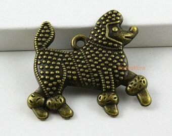 10Pcs Antique Brass Dog Charms Poodle Pendants 30x27mm (PND437)