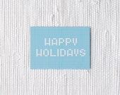 Happy holidays - blue and white postcard