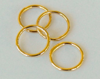 25 GOLD Closed 6mm Jumprings Connector - 18 gauge Round Gold Plated Brass Soldered Closed Jump Ring Links - Instant Ship from USA - 5484